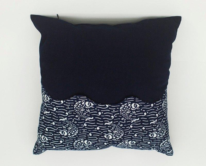 手工印染藍印花布 藍染 拼接 傳統紋樣七星如意魚 含枕芯