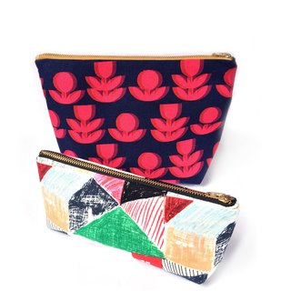 筆袋/纯棉化妆包/杂物包 Set Of Two Zipper Pouch, Red Flower, Nordic Little House