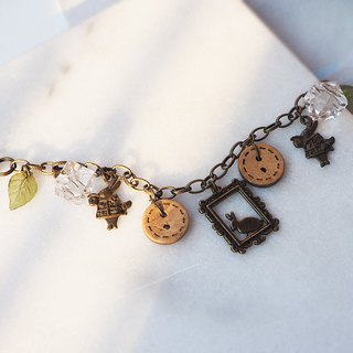 Rabbit photo frame wooden button leaf bronze bracelet P60