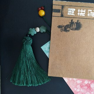 Lotus pond moonlight - Chinese style car hanging bag hanging ornaments classical dark green tassel gift