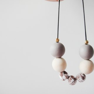 Wooden & Clay Marble Brown Necklace-16