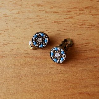 Deco tiles Earrings stars in daytime blue mosaic beads