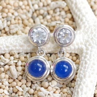 Silver earrings white topaz and blue agate