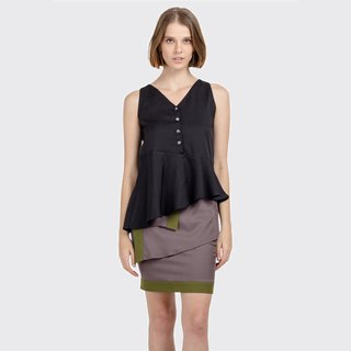 Asymmetric Buttoned Top (Black)