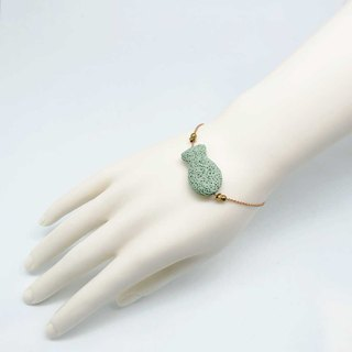 Green Fish Lava Diffuser Bracelet Gold plated Copper Chain with Extend Chain