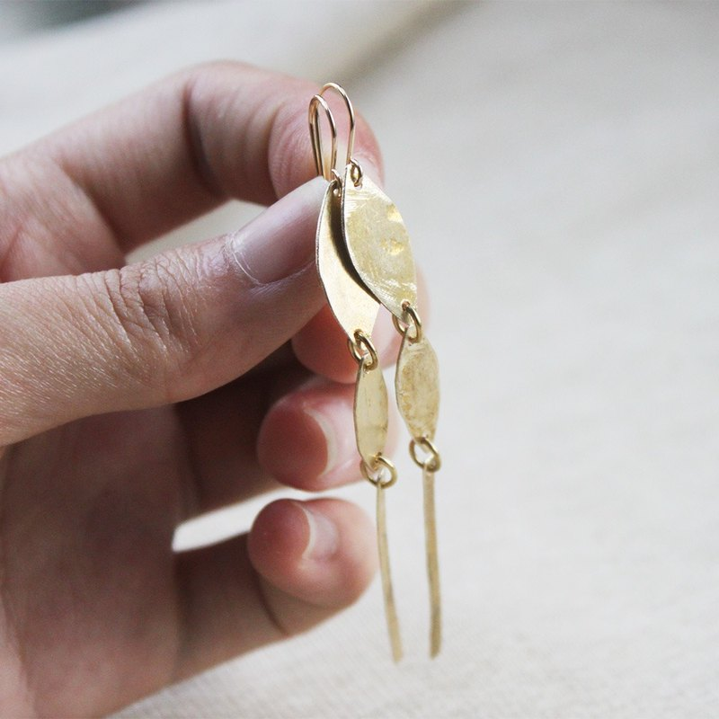 Fallen Leaves Brass Dangle Brass Earrings - 14K Gold Filled Hooks / Clip-Ons