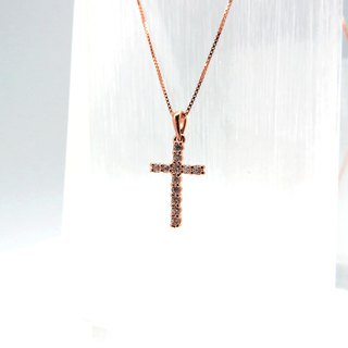 Silver Cross Necklace Thick Rose Gold Length 19.6mm Pendant Rose Gold Chain