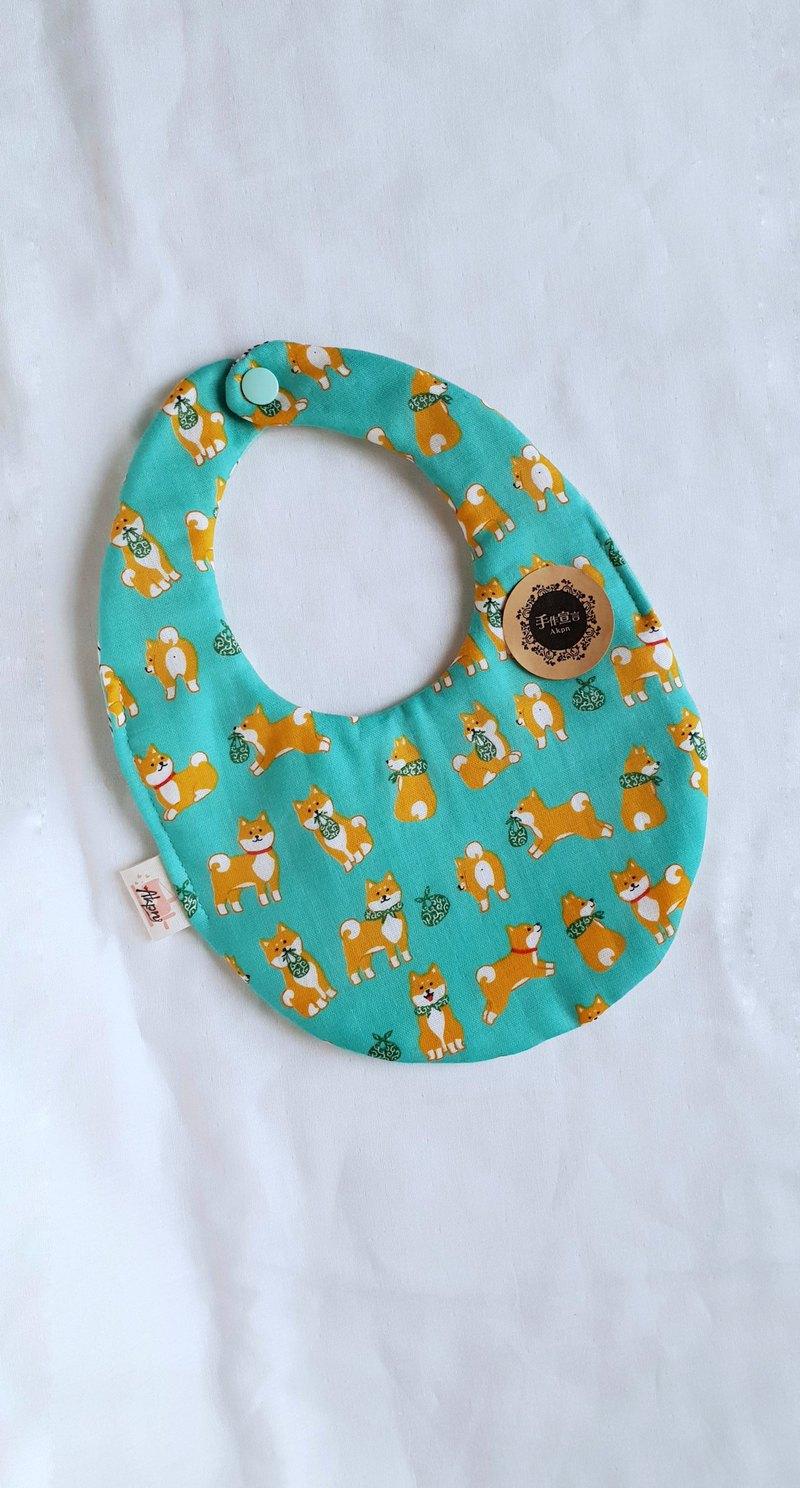柴犬-湖水綠-蛋型八層紗雙面蛋型圍兜口水巾