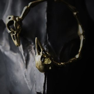 Bird Skulls and Skeleton Cuff Bracelet - Original design and made by Defy - Handmade jewelry / bangle.