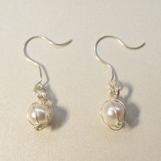 Metal - Hand pearl earrings - bright silver (handmade. Gift. Jewelry. American imports. Earrings. Gift box.