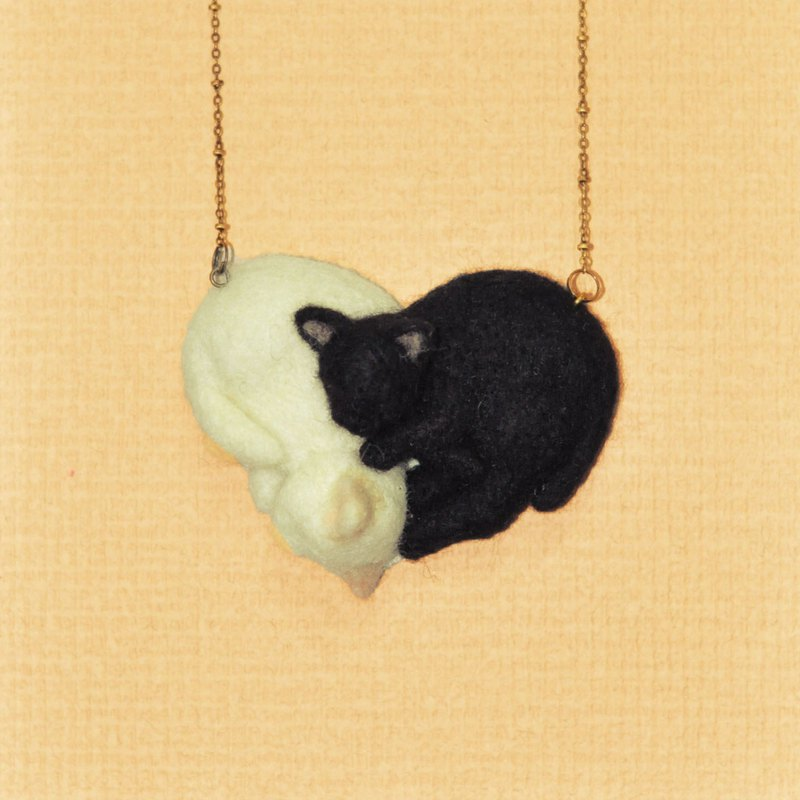 Wool felt black and white cat long chain