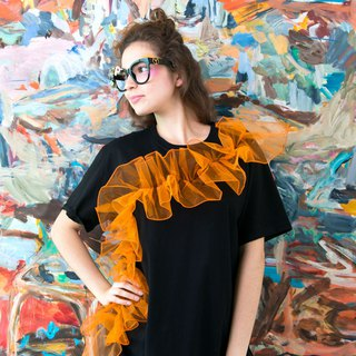 TIMBEE LO Citrus Orange River Wave Black TEE