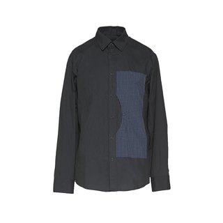 oqLiq - Display in the lost - reflective check large pocket shirt (black)