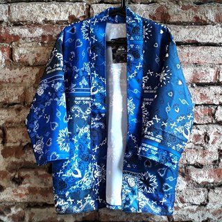 AMIN'S SHINY WORLD original hand-made amoeba totem stitching gradient blouse coat