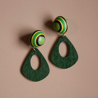 Space Age - Green and Yellow Planetary System Earrings