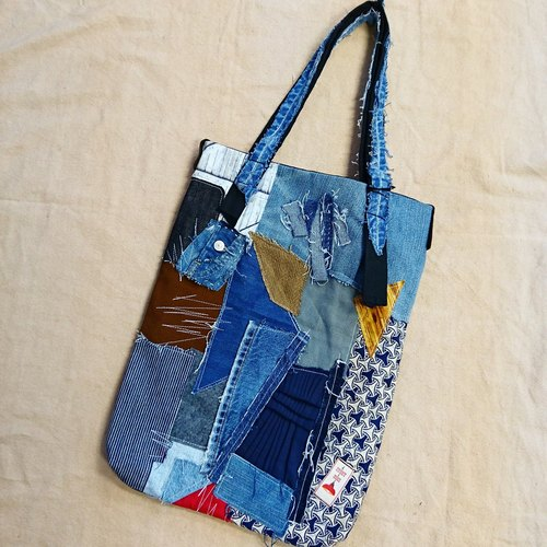 Ancient wind retro wind upcycled plaid shoulder bag / tote bag / boro wind / tote bag / shoulder bag
