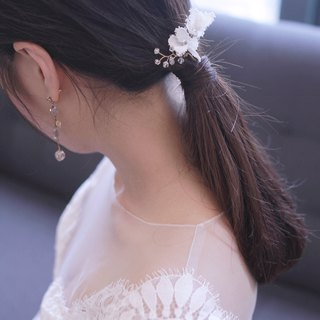 新娘蕾絲頭飾 - Handmade Lace Flower Bridal Headpiece