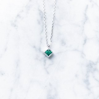::Shimmer Light Series :: Small Square (Emerald) Basic Cut Silver Clavicle Chain