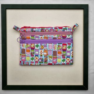 "Seamstress sewing 7 ""three zipper bag carry bag debris bag Sewing string collection 7"" 3 zipper pouch"