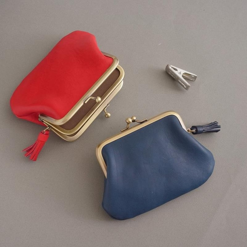 RENEE small tassel double mouth money bag / mouth gold bag / vegetable tanned leather / vegetable tanned leather marine blue