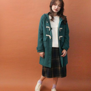 Retro autumn and winter hooded cute forest green lake water blue green vintage horn buckle coat coat