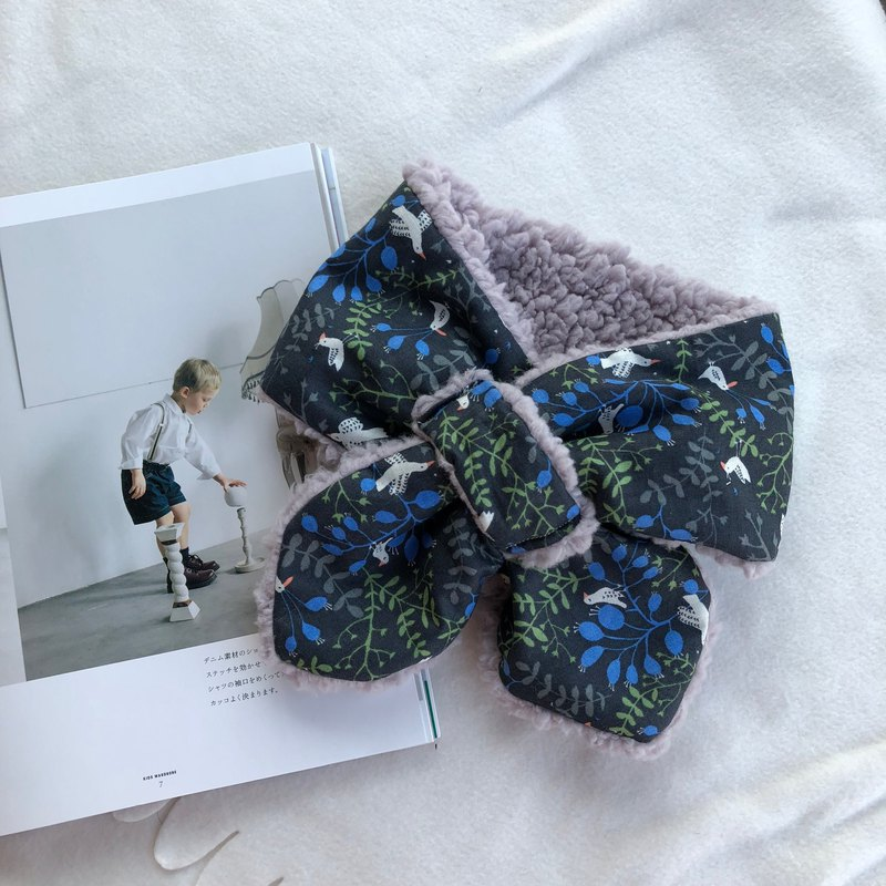 Blue green grass and flowers handmade baby warm scarf neck Wai Yue gift box