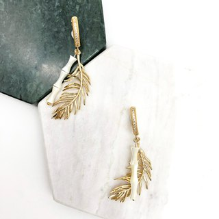 Exquisite - Shells 14kgf Earrings【Bamboo + Feather】【wedding】【Christmas gift】