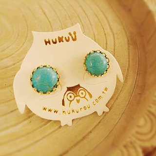 HUKUROU Simple Natural Stone Earrings - Turquoise