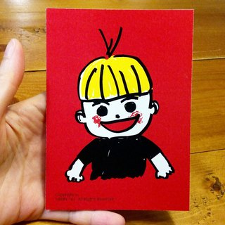 BOY (A3-size poster can be made) Birthday Card Design Coloring Illustrator Picture Card Universal Card Art Love Special Funny Strange Character Weird Cute Taiwan