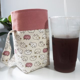 Double Sided Drink Bag ~~ One Large Cup Side Cup ~ Zodiac 750 Burning Pot ~ Little Sheep ~ Pink