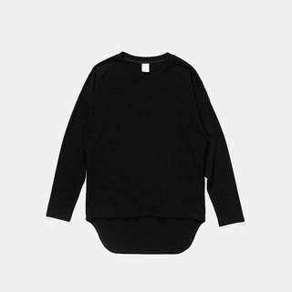 Simple rounded long sleeve T ::Black :: New listing in autumn and winter