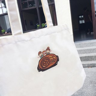 Steak cat's daily large canvas bag (tote bag) hand-printed Canvas bag