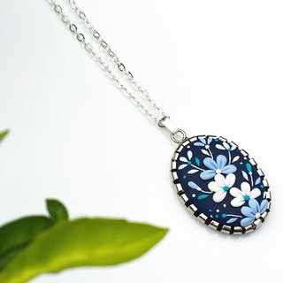 Polyermer Clay of handmade Pendant -Blue and White Flower Clusters | FIFI CLAY