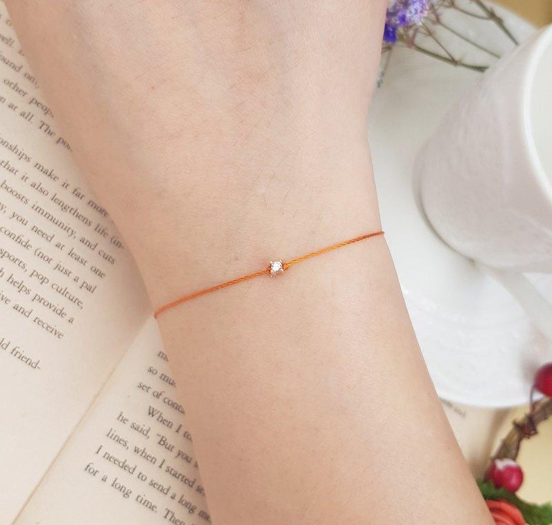 鍍金 粉紅鑽 超小 2.8mm 四爪鑽 橘紅 紅線手鍊 精緻 單鑽 姻緣