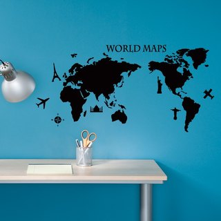 Smart Design Creative Wall Sticker - World Map 8 Colors Available