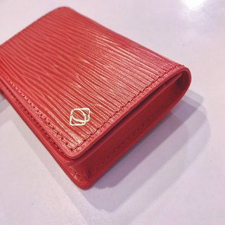 [La Fede] vegetable tanned-AQUA series - business card holder coral red