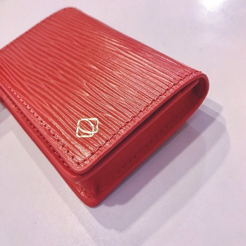 "[La Fede] ""Mother's Day limited color"" vegetable tanning-AQUA series - business card holder coral red"