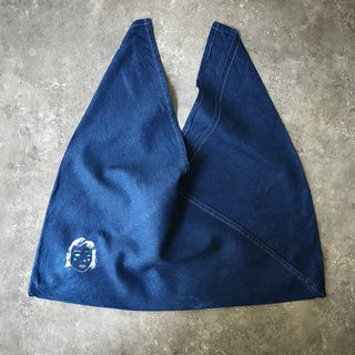 [Fasti] when the age of the year] vegetation dyed cotton bag to discharge Indigo blue dye-face