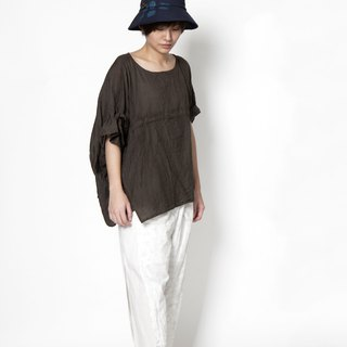 理理人生_Asymmetric Single Sleeve Straps Striped Top