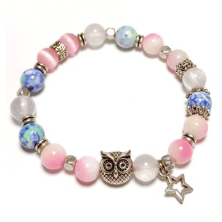 Wisdom Stone Guest Bracelet Powder Jade with White Crystal Pink Cat Eye Rain Color Stone Ore