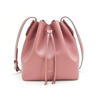 [ADOLE] laurel weave - leather bucket bag - smoked pink