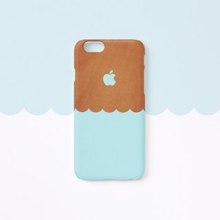 iPhone case - Wave : Mint blue / wood pattern for iPhones - non-glossy L07