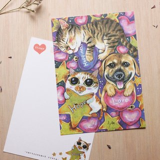 """Thirteen meow illustrator"" happy hope and love ☉ cat ☉ illustrator postcard"
