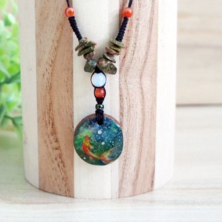 Hand goldfish (goldfish) wood pendant + natural stone wax long necklace