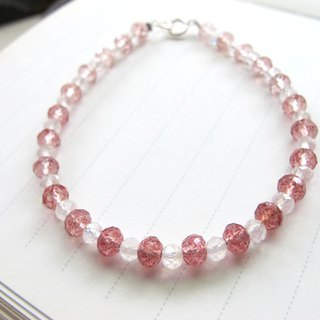 Strawberry milkshake x Strawberry Crystal x 925 silver - hand-made natural stone series