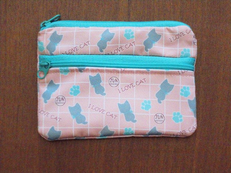 雙層零錢包-粉紅格貓咪