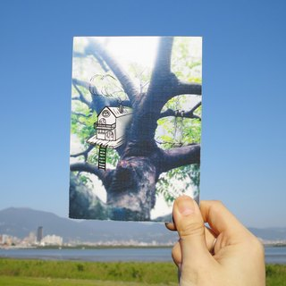 Quietly draw cool card / multifunctional storage postcard / tree house