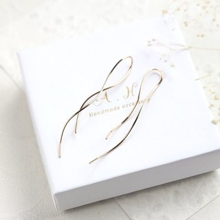 14kgf-nuance curve pierced earrings