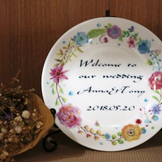 4.4 Enameled Plates - Fresh Wreath Small-Purpose Customized / Wedding Accessories / Wedding Gifts