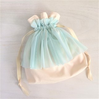 Soft tulle gather furrill Drawstring off × light blue